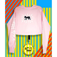 Keith Haring Radiant Baby, Free size Long Sleeve Crop Top PINK
