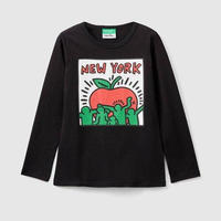 Benetton Keith Haring Kids Long Sleeve NY Apple Black