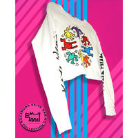 Keith Haring Radiant Baby, Free size Long Sleeve Crop top WHITE