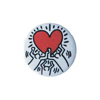 Keith Haring Round Magnet (Figures Holding a Heart)