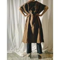 gauze logo print dress  (brown)