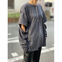 fastener long Tee  (charcoal  gray)