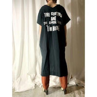 gauze logo print dress  (black)