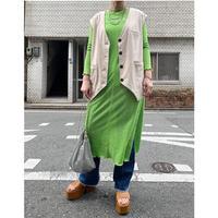 jacquard maxi cut dress(light green)