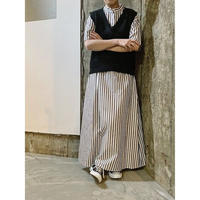 stripe super long shirt-dress  (black)