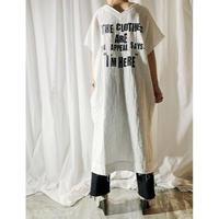gauze logo print dress  (off white)