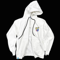 GLOWING ANIMAL【ZIP HOODIE WHITE】
