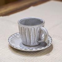 あさか野窯のしのぎコーヒーカップ&ソーサー