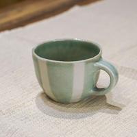 栖鳳窯・青磁と白のストライプ・マグカップ