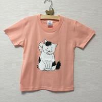 猫舞伎キッズTシャツ アプリコット