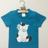 猫舞伎キッズTシャツ ターコイズブルー
