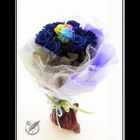 【送料無料】プリザーブドフラワー レインボーローズ・ブルーローズの花束~11本~最愛~