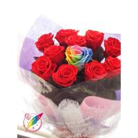 【送料無料】プリザーブドフラワー レインボーローズ・レッドローズの花束~11本~最愛~