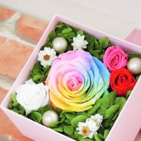 【送料無料】プリザーブドフラワーレインボーローズパステルボックス~ピンク~