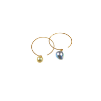 #98 百花  Coloful Akoya Pearl Hoop Earrings Large