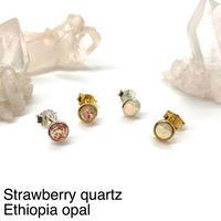 【受注商品】Bijou pierce〈Strawberry quartz/Ethiopia opal〉