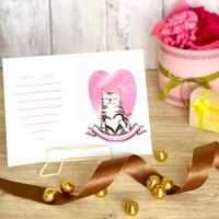 バレンタインカード ハートを抱く猫 テンプレート