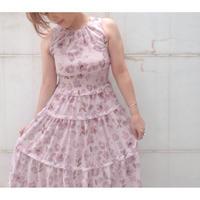 花柄ノースリーブシャーリングワンピース ピンク