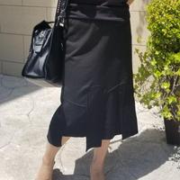 裾デザインスエットスカート 黒ブラック