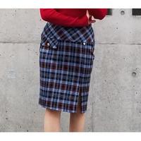イタリア製チェックミニスカート ブルー×レッド