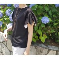 お袖フリルTシャツ 黒ブラック