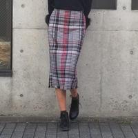 チェック裾フリンジタイトスカート 赤×黒