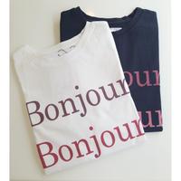 BonjourロゴTシャツ 白 黒ブラック