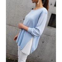 七分袖裾プリーツニット ライトブルー