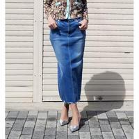 デニムロングタイトスカート ブルー