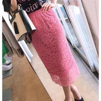 レースタイトスカート ピンク ブルー