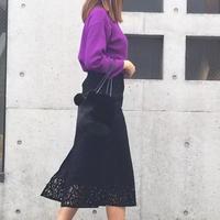 anana レースセミタイトスカート 黒