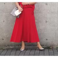 プリーツ風ロングスカート ブルー 赤