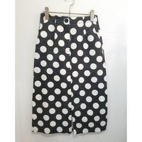 水玉ドットタイトスカート 黒×白