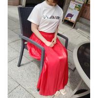 サテンロングスカート 赤レッド ターコイズ