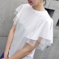 チュール袖Tシャツ 白ホワイト 黒ブラック