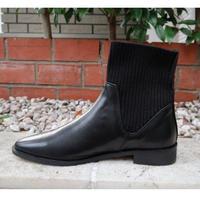 ローヒールニットブーツ 黒ブラック