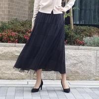 ドットチュールロングスカート 黒白