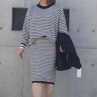 ニットセットアップ 黒×白