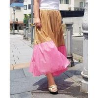 バイカラーマキシスカート 白×ブラウン×ピンク