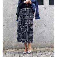 ティアードプリーツドットロングスカート 黒×白