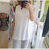 日本製アシンメトリーノースリーブチュニックTシャツ 白ホワイト