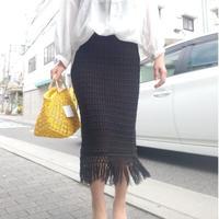 ニットフリンジタイトスカート 黒ブラック