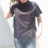 anana フェザー半袖Tシャツ 黒 カーキ