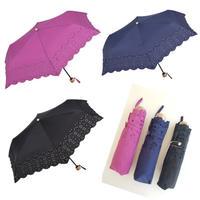 折り畳み日傘 パンチングレース ピンク ネイビー紺 ブラック黒
