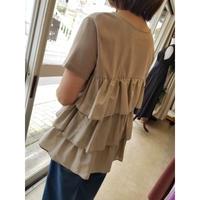 日本製バックフリルTシャツ ベージュ