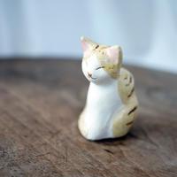ゆらゆら陶猫のオブジェ 茶白トビD
