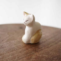 陶猫のオブジェ 茶白A