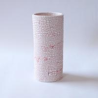白い大地series flower vase-L-red