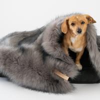 [Labbvenn] Fur Blanket (S) カプチーノ/シルバーグレー