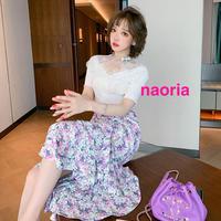 予約制 デザインVネックトップス+小花柄マーメイドスカートセット